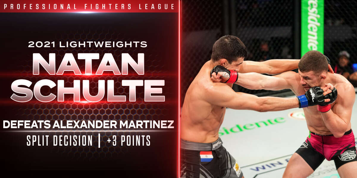 Two-time PFL Lightweight Champion Natan Schulte faced a straightforward challenge Thursday night against Alexander Martinez at PFL 4, 2021: Win or go home.